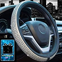 Didida Bling Steering Wheel Cover for Women Girl Diamond Crystal Rhinestones Wheel Cover Universal 15 Inch (Black)