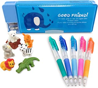 Double-Sided Pen Pencil Case with Magnetic Covers Elephant 9 x 3.25 Inches Teal with (5) Rainbow Mechanical Pencils (7) and Safari Japanese Mini Puzzle Erasers - Perfect 13 Piece Set