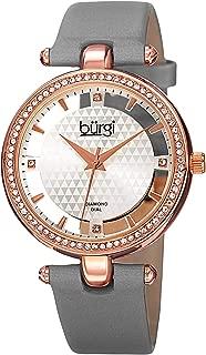 Burgi Women's Quartz Watch, Analog Display and Leather Strap Bur104Gy, Grey Band