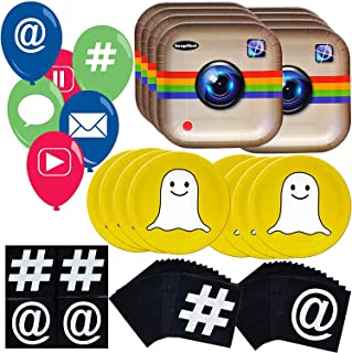 Havercamp Social Media Party Bundle   Dinner & Dessert Plates, Luncheon Napkins, Balloons   Great for Millennial Themed Events, Birthday Parties, Social Gatherings