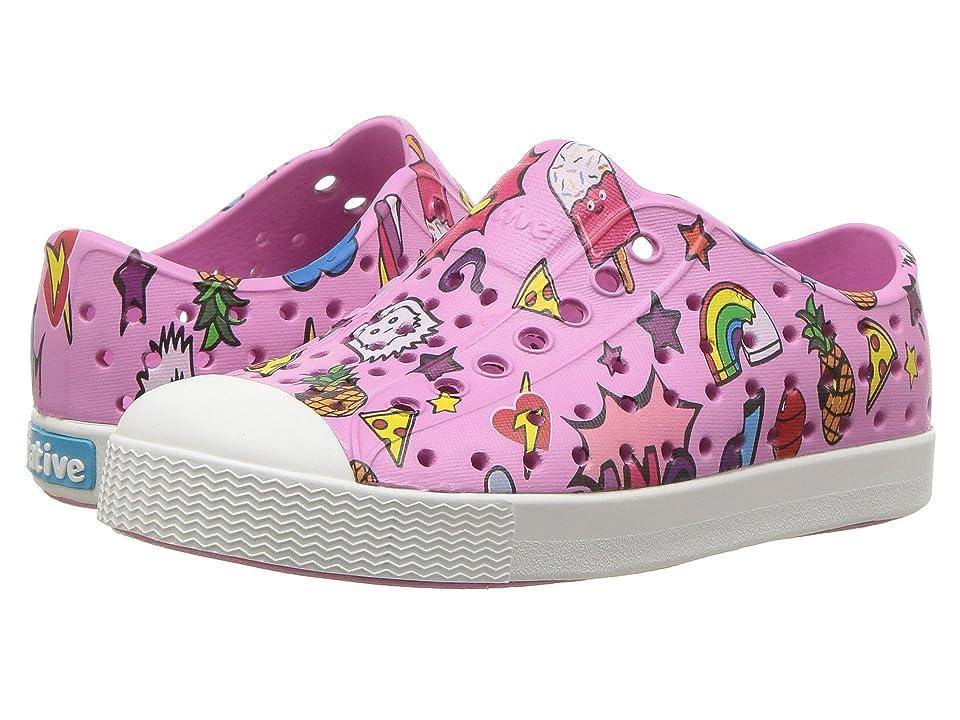 Native Kids Shoes Jefferson Print (Toddler/Little Kid) (Malibu Pink/Shell White/Sticker Book Print) Girls Shoes