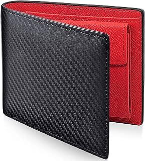 PEYNE 二つ折り財布 本革 メンズ 財布 - カーボン 薄型 ふたつおり財布,紳士 さいふ ふたつ折り財布, (表革: カーボン柄 ブラック/ブルー ブラウン, 内側: 型押しカーフ レッド) Mens Wallet, 男性 2つ折り ふたつ折 財布。