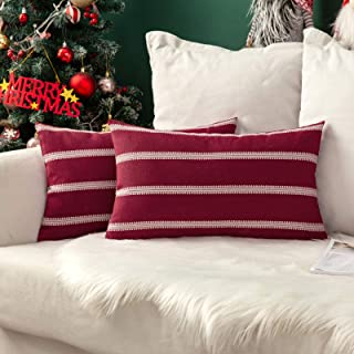 MIULEE Set of 2 Decorative Throw Pillow Covers Striped Modern Farmhouse Cushion Cases Lace Linen Pillowcases for Couch Bed...