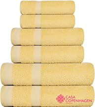 CASA COPENHAGEN Solitaire Egyptian Cotton 17.70 Oz/Yd Thick 6 Pieces Bath, Hand and Washcloth/Face Towels Set (Yellow Iris)
