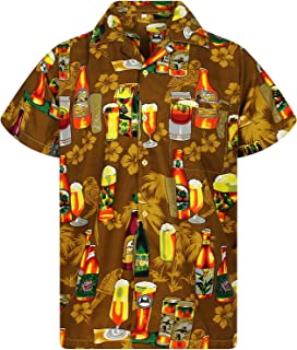 Funky Camisa Hawaiana Señores   XS -12XL   Manga Corta   Bolsillo Delantero   impresión De Hawaii  Botella de Cerveza