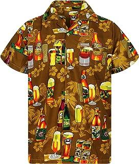 V.H.O Funky Hawaiian Shirt Men Short Sleeve Front-Pocket Beer Party Multiple Colors