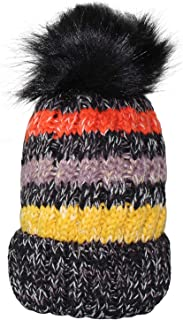 Women Winter Knit Beanie Hat, PH Winter Soft Hat Thickened Windproof Cap, with Faux Fur Pompom