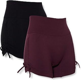 AURIQUE Women's Yoga Shorts, Pack of 2