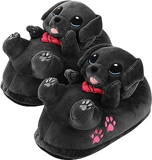 corimori - Buddy el Labrador, Zapatillas de Felpa para niños y Adultos, niños tamaño estándar de la EU 34 a 44 (Negro)