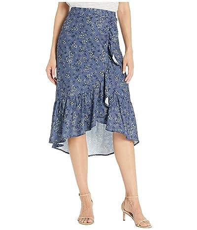 kensie Nostalgic Blooms Skirt KS8K6402 (Blue Indigo Combo) Women