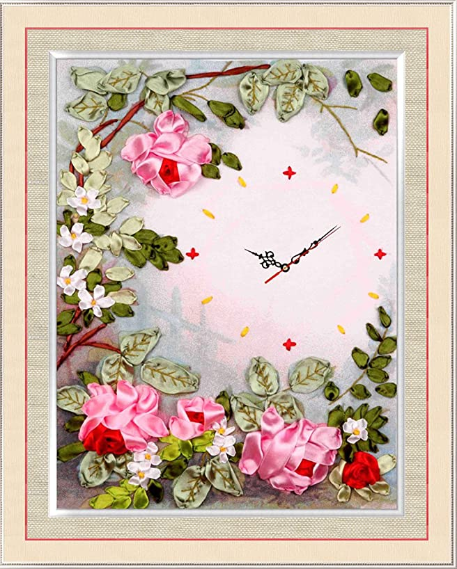 Ribbon Embroidery Kit Moonlight DIY Wall Decor Clock Needle Work (No Frame and Clock) Moonlight