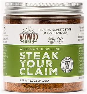 Steak Your Claim Steakhouse Restaurant Rub & Seasoning by Wayward Gourmet - The Best Hamburger Seasoning Spice Blend Mix - Great for the Grill, Jerky, Ribeye, BBQ, Chicken - It's THE Steak Rub