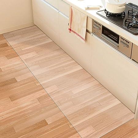 【拭くだけ】キッチンマット 透明 240×60cm クリアマット 1.5mm厚 拭ける PVCマット 床暖房対応 お手入れ簡単 台所マット ソフト エンボス加工 カットできる サラっとした手触り 清潔 ハードフロア/畳/フローリング対応