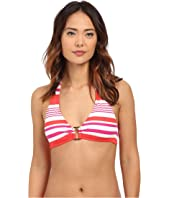 LAUREN Ralph Lauren - Marina Stripe Ring Front Halter w/ Removable Cup Top