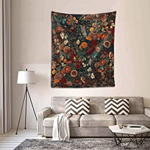 Midnight Garden Wall Tapestry with Floral Exotic Garden Night Tapestry Mystic Tapestry Wall Hanging for Bedroom Home Wall Décor 60 x 51 inch