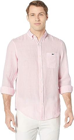 Linen Stripe Classic Fit Tucker Shirt