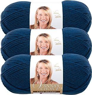 (3 Pack) Lion Brand Yarn 860-118 Lion Vanna's Choice Yarn, Midnight Blue