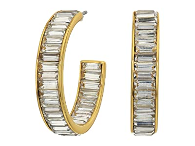 J.Crew Illy Baguette Hoop Earrings (Crystal) Earring