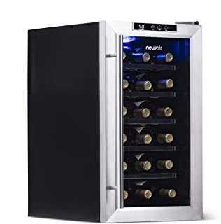 NewAir Wine Cooler and Refrigerator, 18 Bottle Freestanding Wine Chiller Fridge, Stainless Steel with Glass Door, AW-181E
