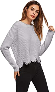 Floerns Women's Loose Long Sleeve Scallop Backless Sweater Pullover Jumper