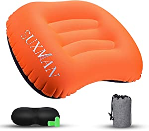 Ultralight Inflatable Camping & Backpacking Pillow, Comfortable Soft Ergonomic Air Camp Pillow for Backpack Exped Travelling Hiking Survival, Portable Lightweight Compact Blow-Up Pillow