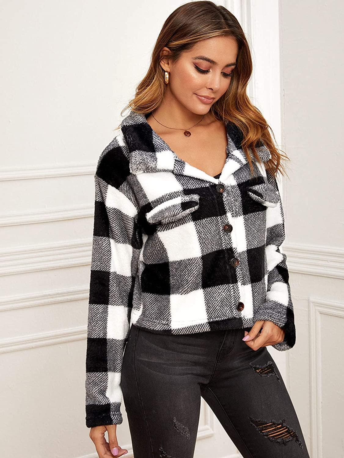 SOLY HUX Women's Casual Plaid Collar Long Sleeve Button Down Jacket