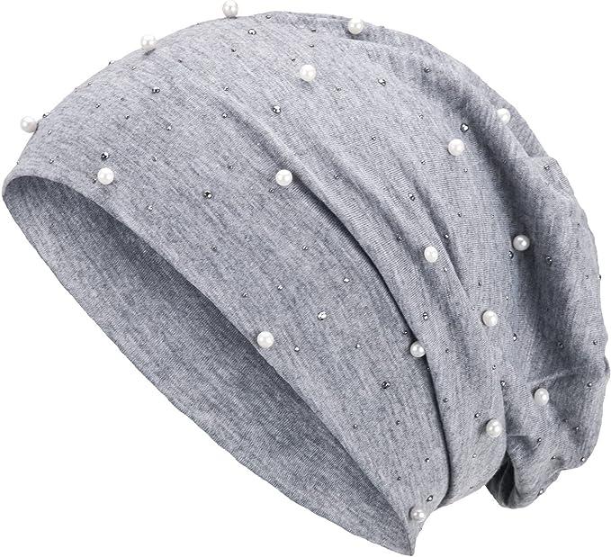 feinem und leichten Jersey Unisex Damen M/ütze Haube Boho M/ädchen Einheitsgr/ö/ße Compagno Slouch Beanie mit Pailletten-Stern aus atmungsaktivem