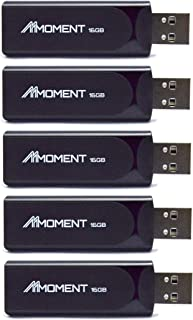Mmoment MU29 16GB 5 Pack USB 2.0 Flash Drive, Thumb Drive for Data Storage, Memory Stick for Music and Videos, Portable Jump Drive with Capless Design (16GB-5 Pack)