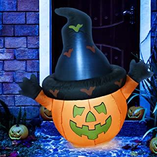 Sunlit Halloween Inflatable Pumpkin with Hat Yard Decoration 4.5 feet with Blower and Adapter, Lighted for Home Yard Garden Indoor Outdoor Decoration Halloween Party, Trick or Treat Night