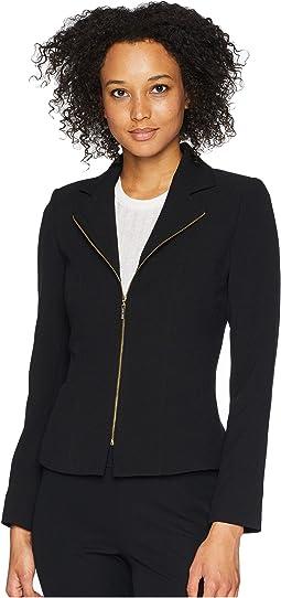Crepe Zip Front Moto Jacket