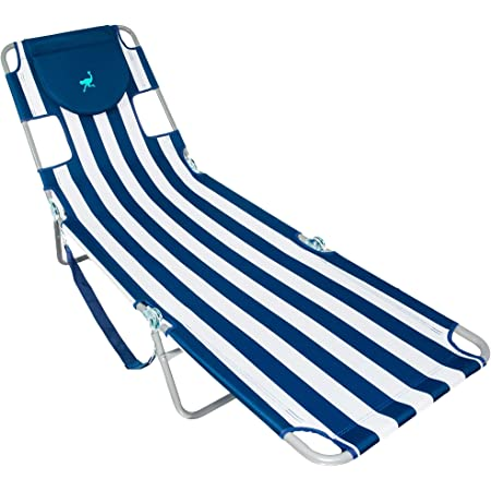 Ostrich Chaise Lounge Blue and White Striped