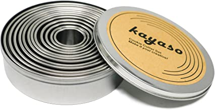 kayaso Round Cutters in Graduated Sizes, Stainless Steel, 12 Pc Set (Plain Edge)