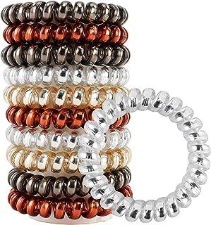 URBEST 10 Pcs Hair Coils, Tie Hair, Spiral Hair Ties, No Crease Hair Ties, Coil Ponytail Holder, 4 Colors