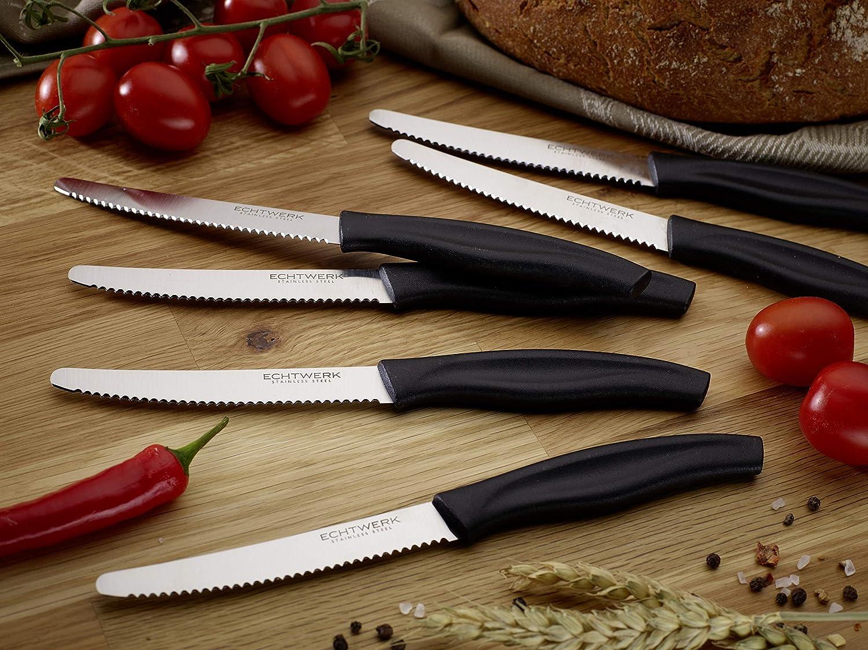acero inoxidable con filo ondulado, mango de pl/ástico, 2 rosas, 2 grises y 2 turquesas Echtwerk Juego de 6 cuchillos para panecillos