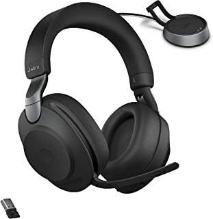 Jabra Evolve2 85 UC Wireless Headphones with Link380a & Charging Stand, Stereo, Black – Wireless Bluetooth Headset for Cal...