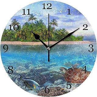 Tropisk sköldpadda fisk ö väggklocka tyst icke-tickande 25 cm rund klocka akryl konstmålning hem kontor skoldekor