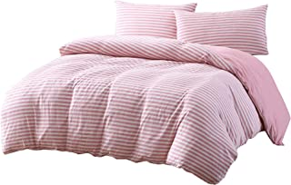 Levi 3-Piece Striped Heather Cotton Jersey Knit Duvet Cover Set - Solid Reversible Ultra Soft and Breathable - Comforter Cover with Button Closure and 2 Pillowcases (Full, Flamingo Pink/White)