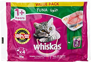 Whiskas Tuna in Jelly, Pouch for Adult Cat (1+ Years), Multi Pack, 85 gm x 4 Pack
