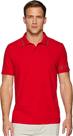 Short Sleeve V-Neck Polo with Printed Sleeve Logo