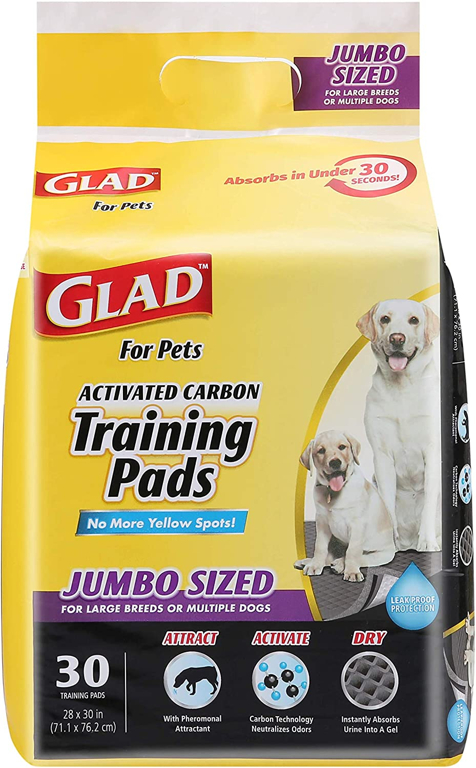 Glad for Pets JUMBO-SIZE Charcoal Puppy Branded Fixed price for sale goods Training Black Pads Pa