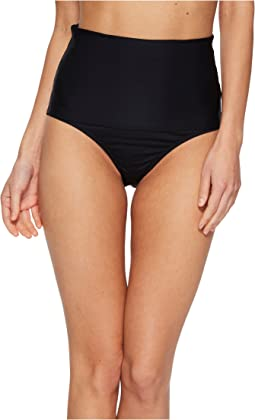 Key Solids Shirred High Waist Hipster Bikini Bottom