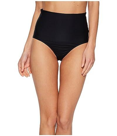 Trina Turk Key Solids Shirred High Waist Hipster Bikini Bottom (Black) Women