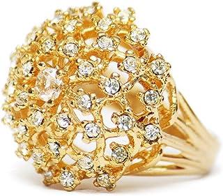 Providence 复古珠宝群集戒指透明施华洛世奇水晶 18K 黄金电镀