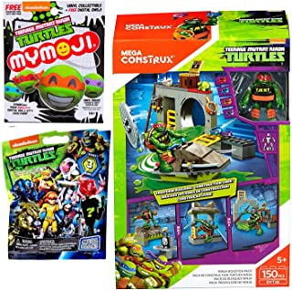 Series 3 Blast Buildable Mega Construx Teenage Mutant Ninja Turtles Blind Nag Mini Figure & Accessory Comic Bundle + Ninja Booster Pack 150 pcs & Mymoji Blind Bag 3 Items