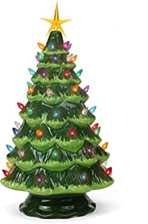 Ceramic Christmas Tree - Tabletop Christmas Tree with Lights - (15.5
