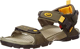 Sparx Men's Olive Green and Yellow Athletic and Outdoor Sandals - 10 UK/India (44.67 EU) (SS0502G)