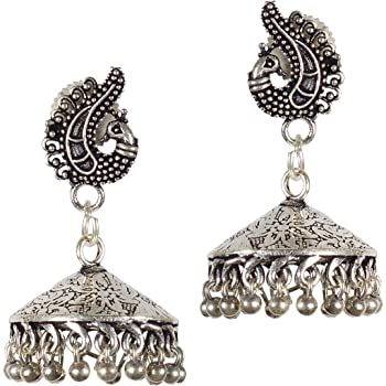 DESI HAWKER Silver Oxidized Earring Bali Jhumki Jhumka Jewelry Bollywood Long Drop Dangle Flat Chandelier NI-3