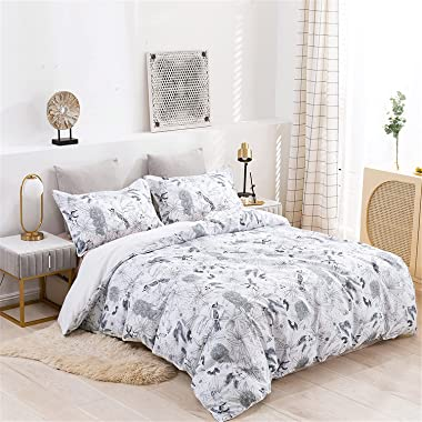 Luxurious three-piece duvet cover, colorful dark bedding, colorful pattern duvet cover with zipper opening and closing, luxur