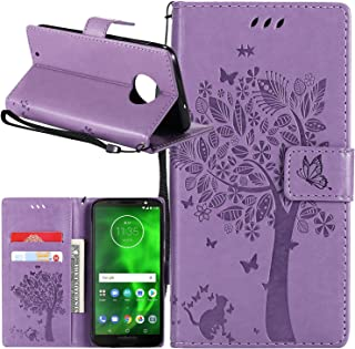 Moto G6 Case, Lacass Cat Tree Pattern PU Leather Flip Wallet Case Cover Kickstand with Card Slots and Wrist Strap for Motorola Moto G (6th Gen) 2018 - Lavender