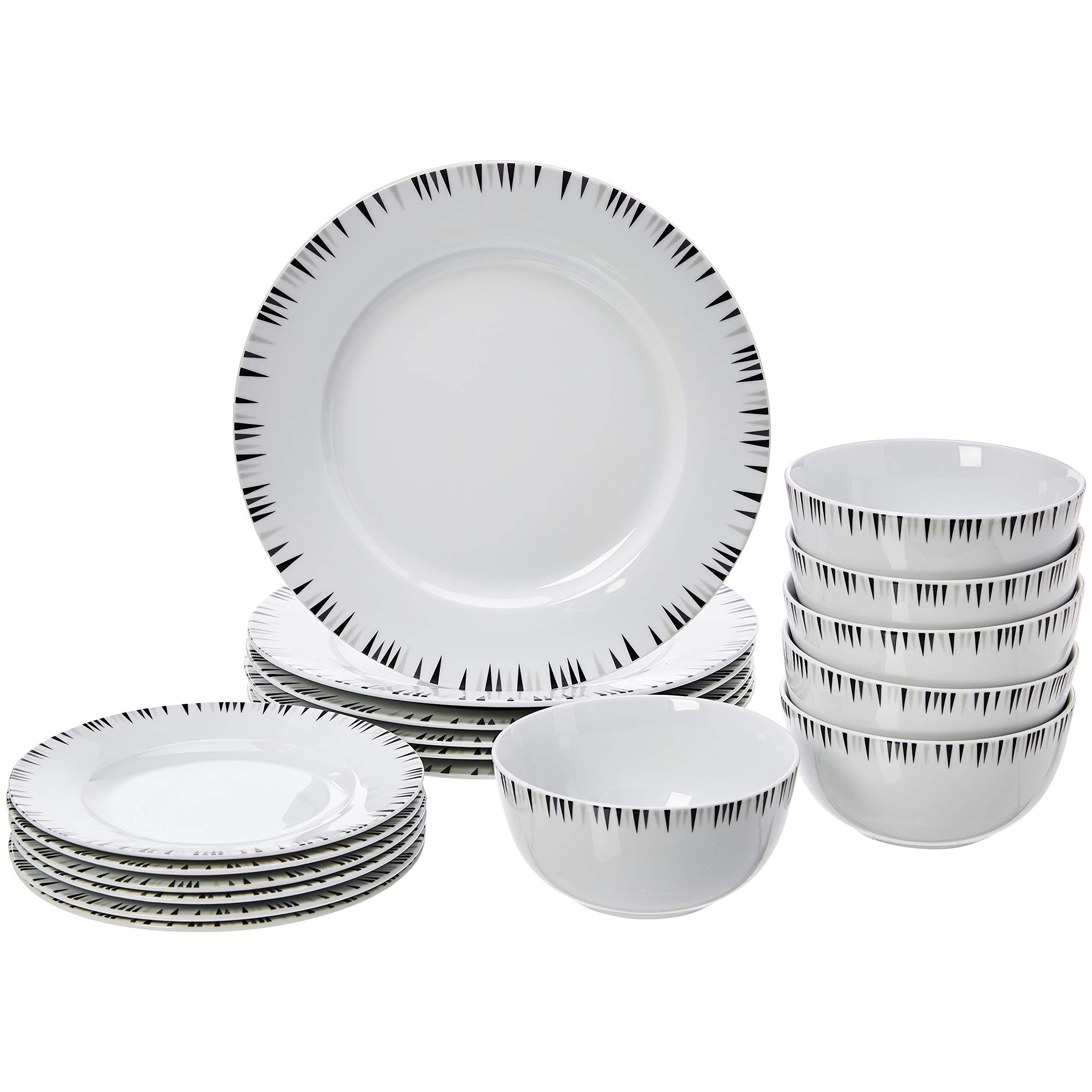 AmazonBasics 18 Piece Dinnerware Set Bungalow